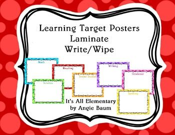 This is a set of 7 colorful blank posters for you to display your learning targets. Either laminate to create a write and wipe surface, or place inside cheap dollar store frames to create write and wipe boards. This set is created with a colorful dot theme.