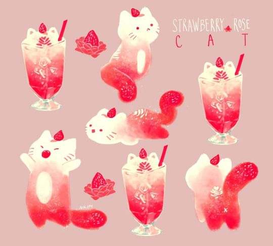 I love how specific the type of cat is. 'Strawberry rose'