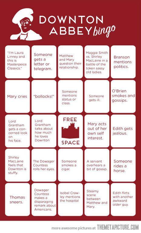 Downton Abbey Bingo…