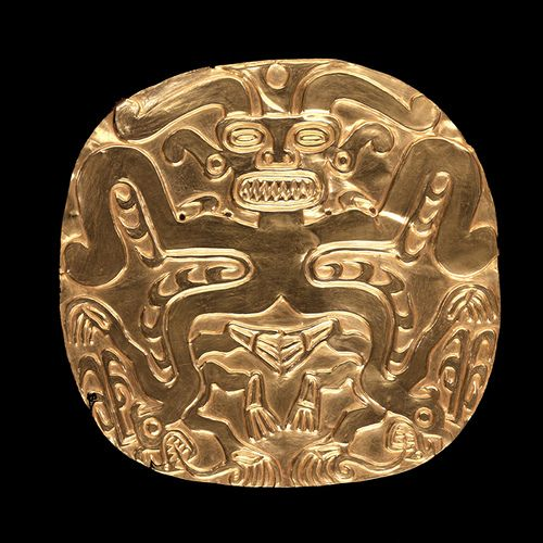 Embossed Gold Plaque. L: 8.6 in, W: 8.9 in. Penn Museum pre-hispanic gold