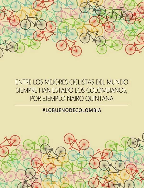 Colombia es lo q dces #LoBuenoDeColombia su ciclismo xq damos lo mejor de los colombianos Colombia @Colombia pic.twitter.com/CitO99QZuP @estebanpulgacho