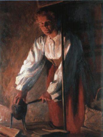 Sam Uhrdin. LISS-EVA OCH EN KAFFEPETTER. 1946. Olja på duk. 92 x 73 cm.  Liss-Eva och en kaffepetter by Sam Uhrdin
