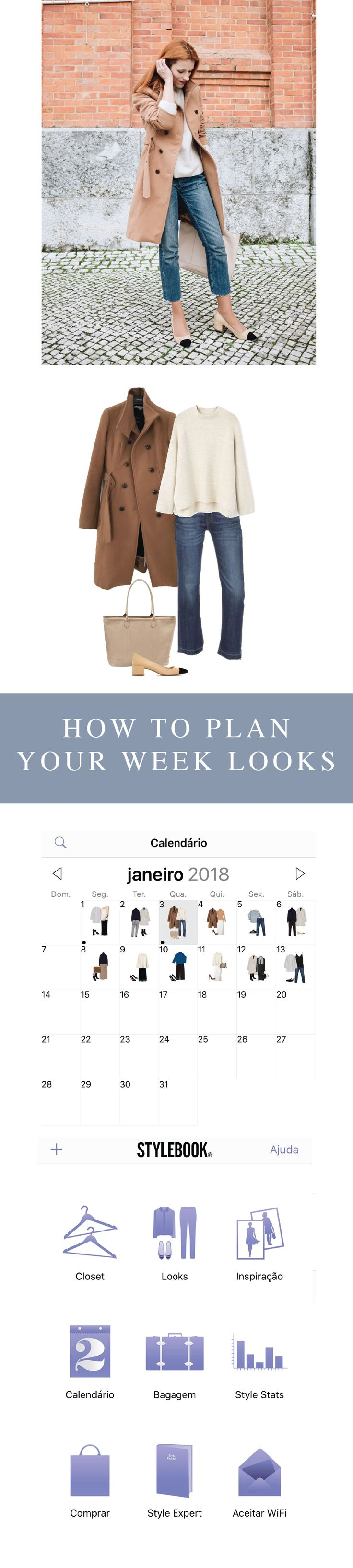 Plan and schedule your outfits for the week, stylebook app, wardrobe planner, outfits planner