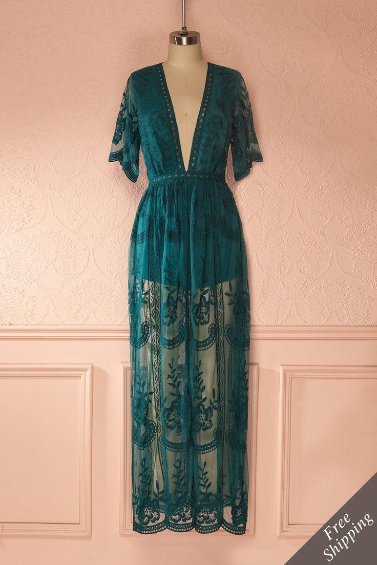 Déalda Sarcelle - Teal lace romper dress