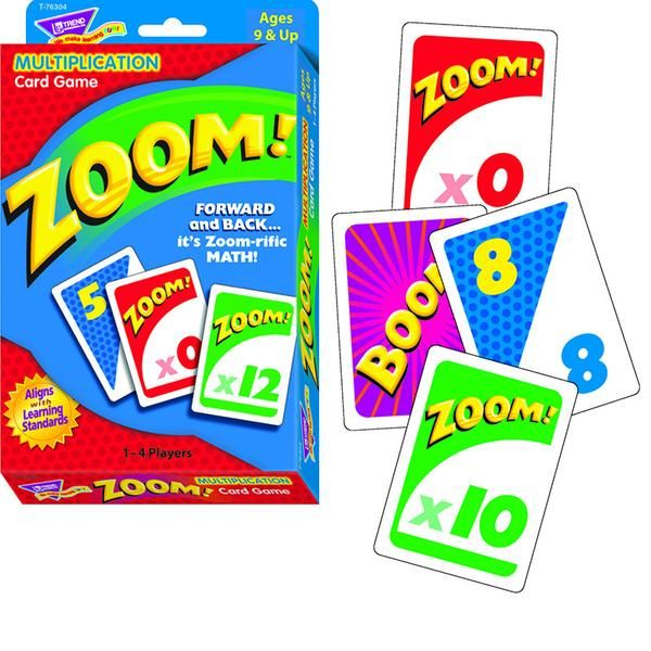 It's the math game with a forward/backward twist! In Zoom™ players add cards while watching out for wild cards that can send their scores zooming forward, backw