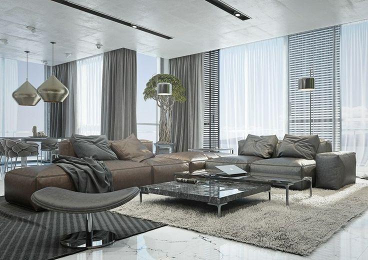 wohnzimmer ideen mit brauner couch braun und grau. Black Bedroom Furniture Sets. Home Design Ideas