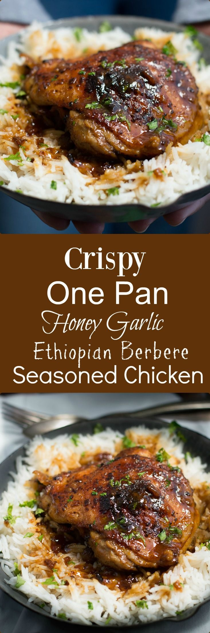 Crispy One Pan Honey Garlic Ethiopian Berbere Chicken Thighs have a delicious crispy skin with a sweet and spicy garlic sauce.