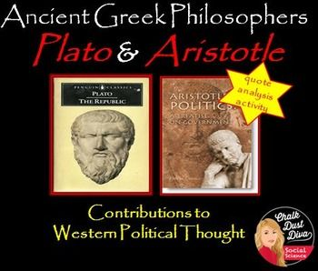 Plato and Aristotle: Contributions to Western Political Thought  By analyzing important quotes from Plato's Republic and Aristotle's Politics students will be able to understand the ideas these famous Greek philosophers had on western political thought.