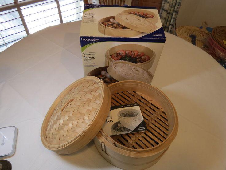"Progressive Bamboo Steamer Baskets 10"" diameter Ideal for Dim Sum cookwear NOS #Progressive"