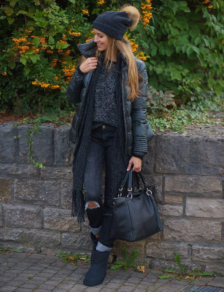 Jacke: Blauer USA, Pullover: Klitmöller, Jeans: Replay, Mütze und Schal: Seeberger, Boots: Emu Australia, Tasche: Leather Country