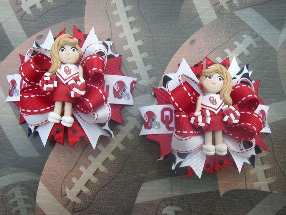 Custom Oklahoma Sooners Cheerleader Girl Hair bows by RoseWC96, $22.00