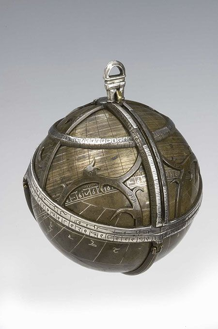 """Spherical Astrolabe, 1480-1481. The name """"astrolabe"""" comes from the Greek word astro, meaning """"star,"""" and labio, """"that which searches,"""" so it could be translated as """"star searcher."""""""