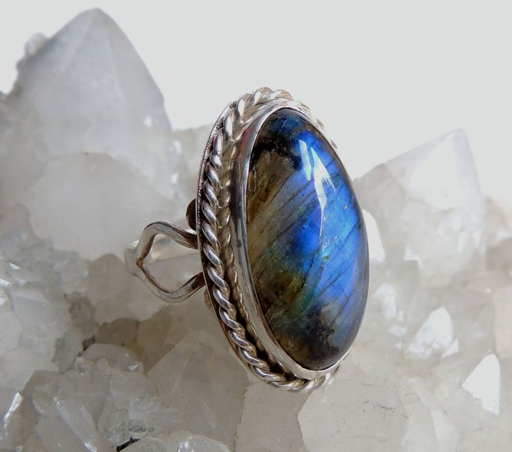 Solid Silver ring with Labradorite,100% handmade,statement ring,unique jewelry,birthday gift by Majlagalery on Etsy