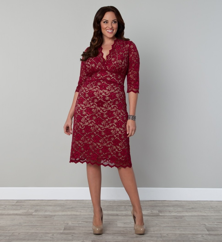 3/4 Sleeved Scalloped Boudoir Lace Plus Size Cocktail Dress by Kiyonna