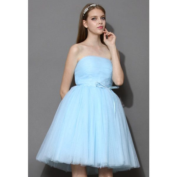Chicwish Endless Blue Tulle Bustier Mesh Prom Dress (115 AUD) found on Polyvore featuring dresses, blue, going out dresses, blue dress, party dresses, tulle cocktail dress and cocktail party dress