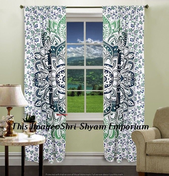 Indian Mandala Room Decor Tulle Window Mandala Curtain Balcony Drapery Curtains #Handmade #Traditional