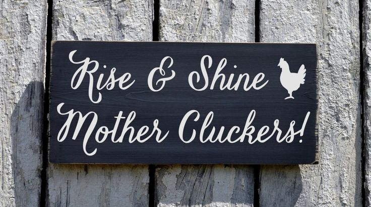 Farm House Decor Sign, Chicken Coop Rooster Cottage Room Wall Art Plaque, Rise Shine Mother Cluckers Farming Outdoor Kitchen Rustic Chic
