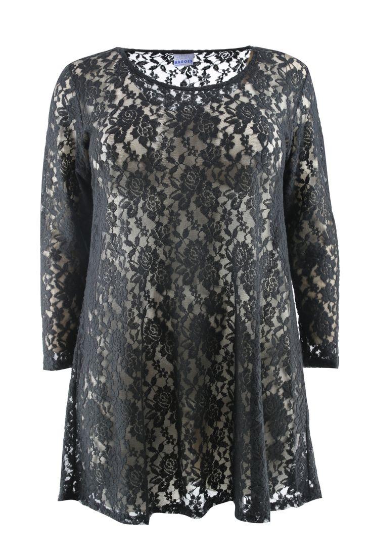 Tuniek Bagoes kant » Black lace tuniek Plus size fashion Kleding » Grote maten | damesmode online | Bagoes grote maten