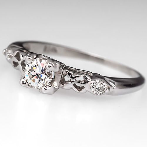 Vintage Transitional Round Cut Diamond Engagement Ring Solid 14k White Gold Fine Ebay