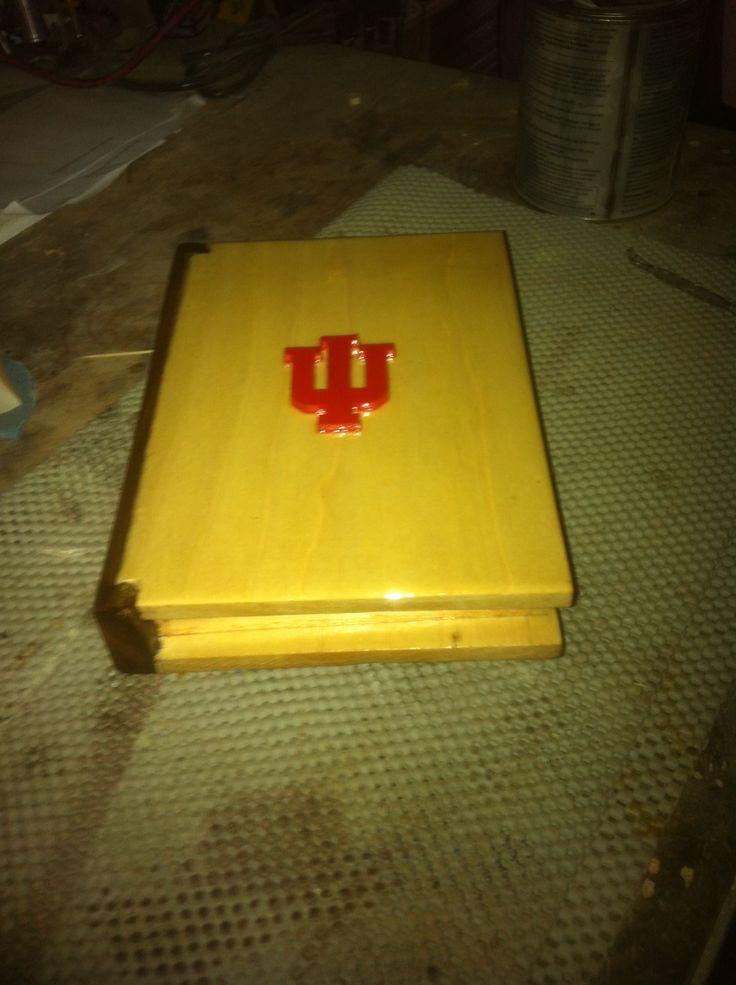 Collegiate Book Box.  (IU). Walnut spine.   Ash carcass.  Oak IU painted in crimson red.  Entire book sealed in satin polyurethane