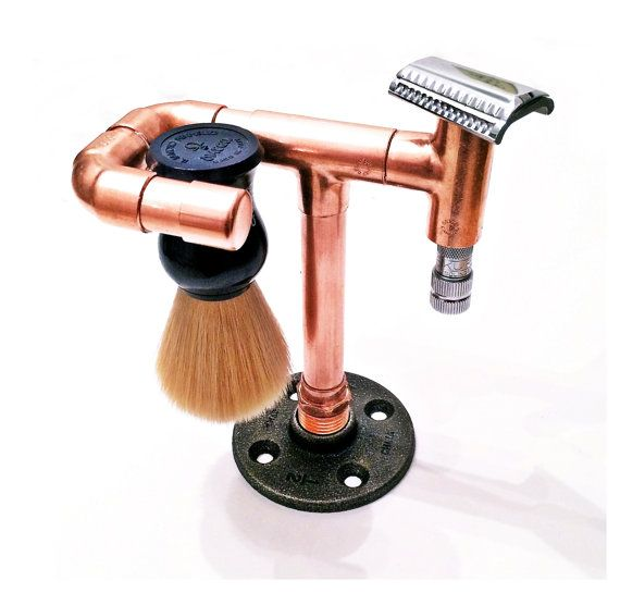 Safety razor stand and brush holder - copper shaving brush stand - shaving stand - iron pipe, industrial, minimalist, rustic, steampunk