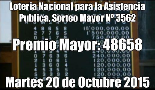 Resultados sorteo Mayor Nº 3562 del martes 20/10/15. ver resultados: http://wwwelcafedeoscar.blogspot.com/2015/10/resultados-sorteo-mayor-n-3562.html