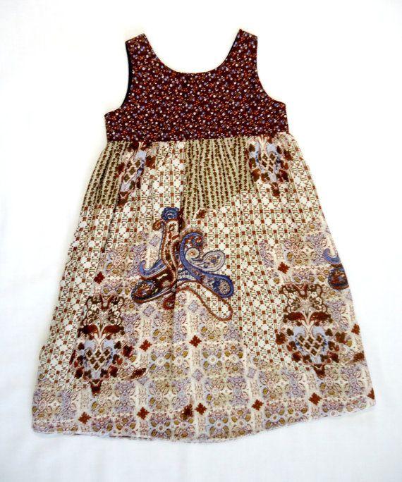 Girls Calico Dress 3T 4T Bohemian Style by EcoKidsClothing on Etsy