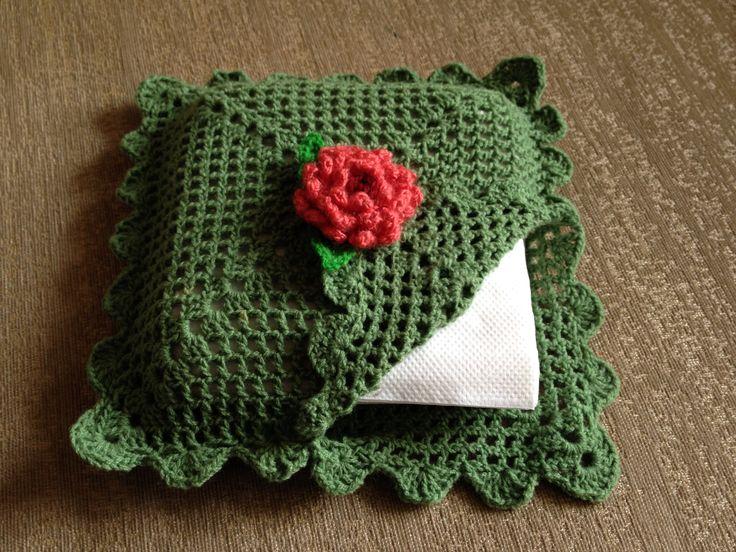 Crocheted paper napkin holder