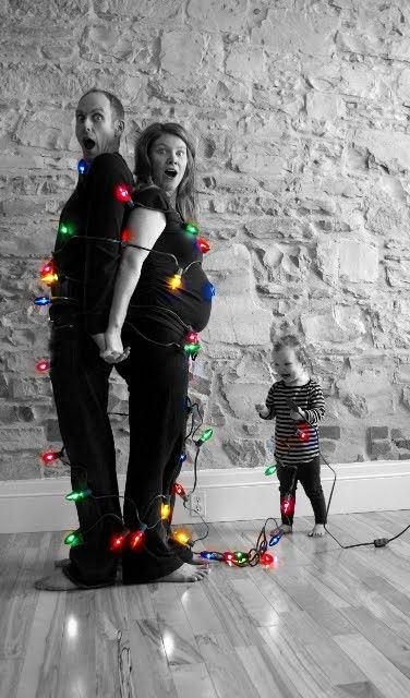 """Christmas card photo. by catalina - Except I would """"tie"""" the kids up with the lights."""