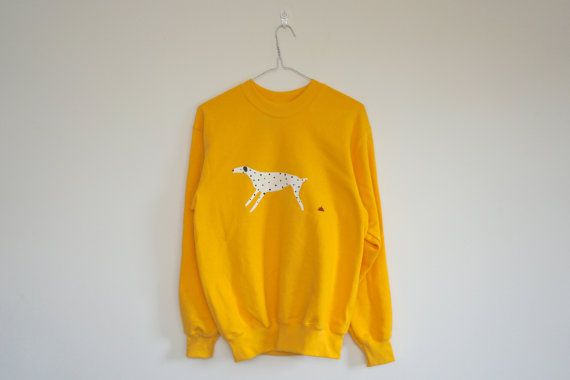 Poopy Spotty Dog Sweater in Bright Yellow - Size Small