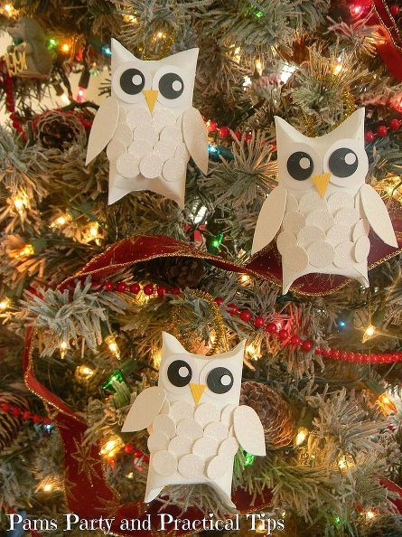 Snow Owl Christmas Ornaments (made from toilet paper tubes!)