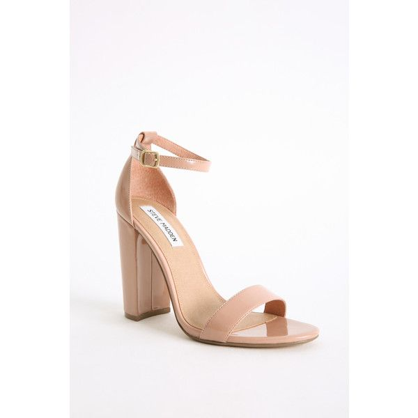 Steve Madden Carson Ankle Strap Heels ($49) ❤ liked on Polyvore featuring shoes, pumps, nude, nude high heel shoes, suede pumps, nude pumps, steve madden pumps and wide heel pumps
