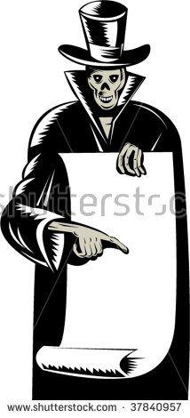 Skeleton wearing top hat with paper scroll  #skeleton #woodcut #illustration