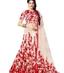 Buy White and red bhagalpuri silk embroidered unstitched lehenga choli lehenga-choli online