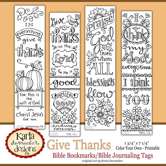 GIVE THANKS Color Your Own THANKSGIVING Bible Journaling Bookmarks Illustrated Faith Instant Download Scripture Digital Printable Christian by karladornacher on Etsy https://www.etsy.com/listing/256407535/give-thanks-color-your-own-thanksgiving
