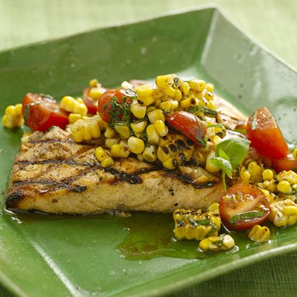Fire up the grill and prepare to make a memorable salmon recipe. Don't skip the corn relish; it adds a pop of color and a smoky flavor to the main dish fish recipe.