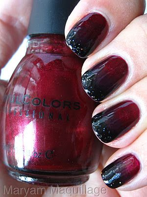 Black Blood Ombre nails, with tutorial