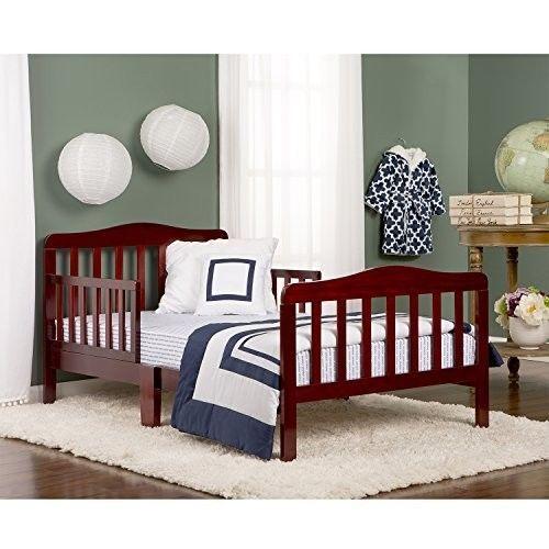 Cherry Toddler Bed Kids Bedroom Furniture Safety Rails Standard Crib Mattress #DreamOnMe