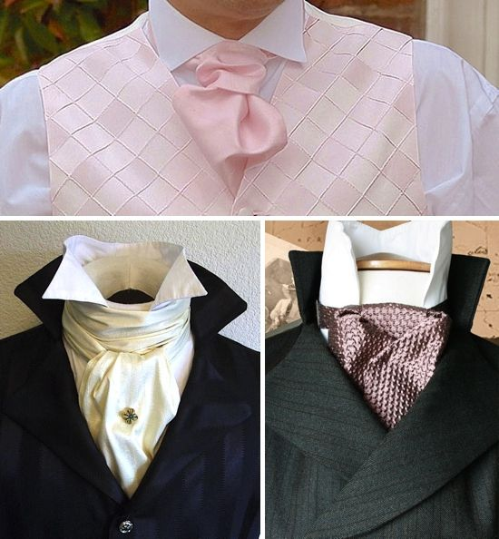 These are old school cravats. The one on the bottom left is what I am used to them looking like (lol) apparently cravats don't look like that any more.   Remember gentlemen: the higher the collar, the more your manly jaw-line will be emphasized; this is a good thing. ; )