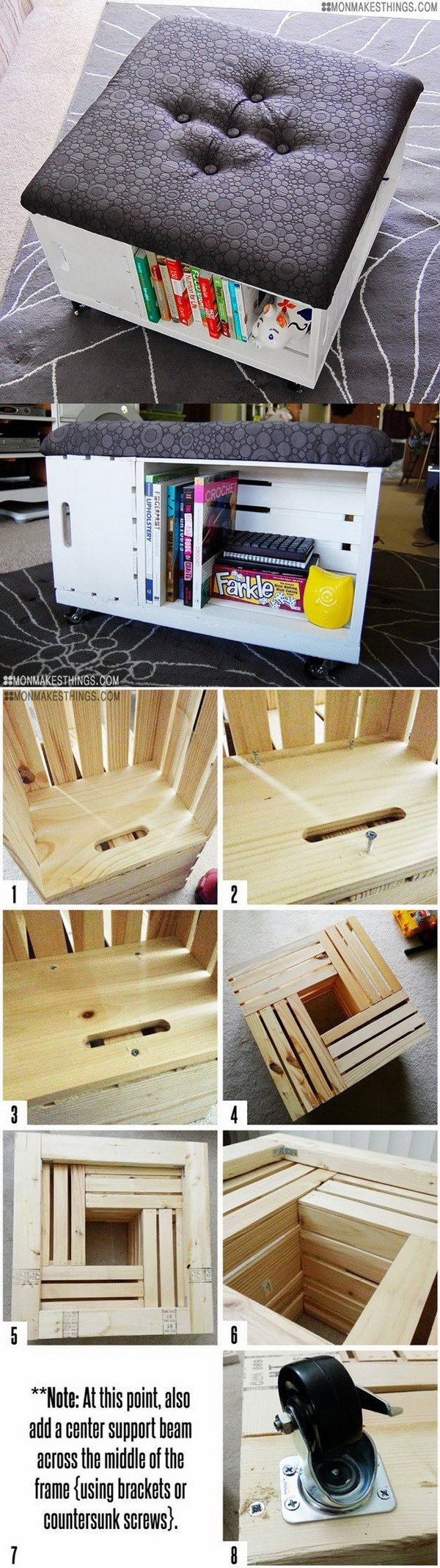 DIY Ottoman with Storage: This DIY ottoman is easy to put together with some cheap wooden crates and gives you additional seating and storage at the same time.
