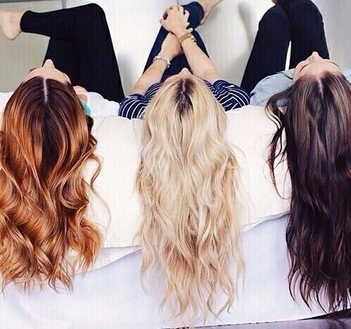 Blond brunette and redhead