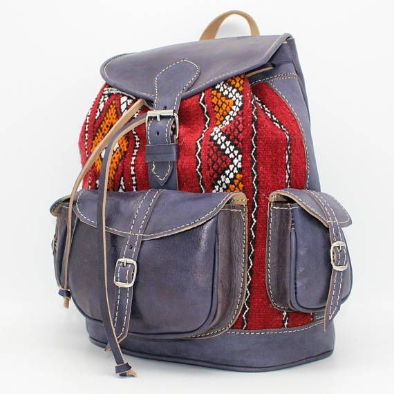 Leather backpack,red kilim bag, kilim backpack, laptop bag sac a dos, sac a dos cuir, leather blue backpack, gift for wife, birthday gift