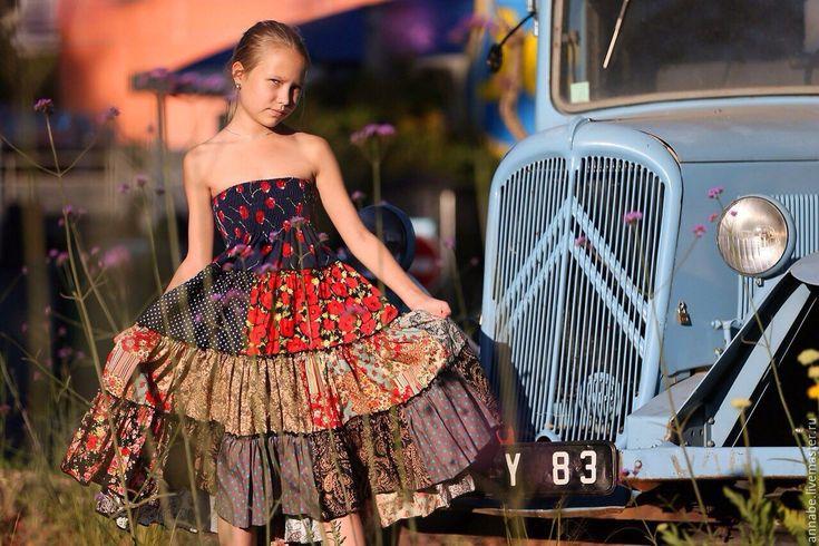 Купить Цыганская Юбка Хлопок 100% - юбка с принтом, юбка с цветами, юбка миди