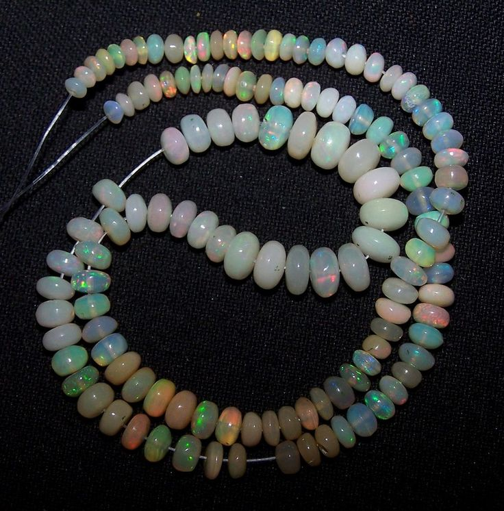 "29.90Ct Insane Multi Rainbow Fire Ethiopian Opal Beads 3-6 MM String 13 "" AAA NR"