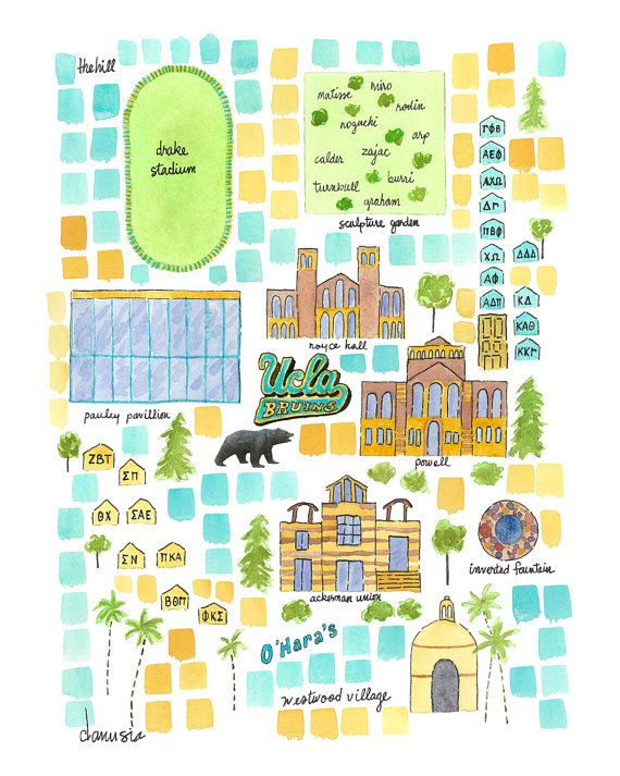 UCLA Illustrated Campus Map by DanusiaKeusder on Etsy, $20.00 www.danusia.org