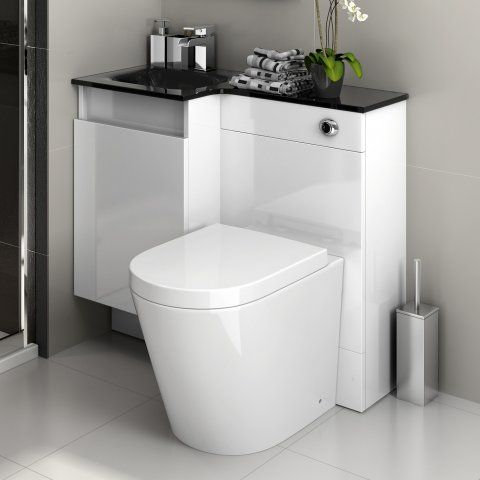 906mm Lyon Pan Olympia Gloss White Drawer Combined Vanity Unit & Black Glass Basin - soak.com