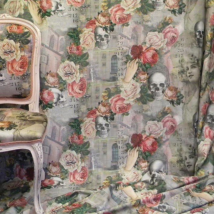 fabric 100% cotton Parisian beauties, roses, skulls wonderfully eccentric fabric.
