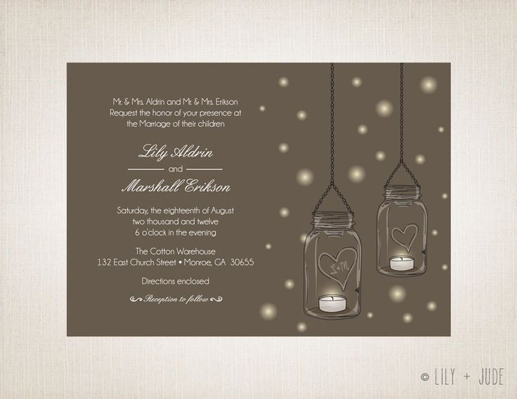 Mason Jar Wedding Invitation Tea lights fireflies by LilyandJude, $30.00