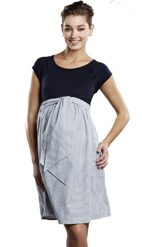 Navy Seersucker Scoopneck Front Tie Maternity Dress