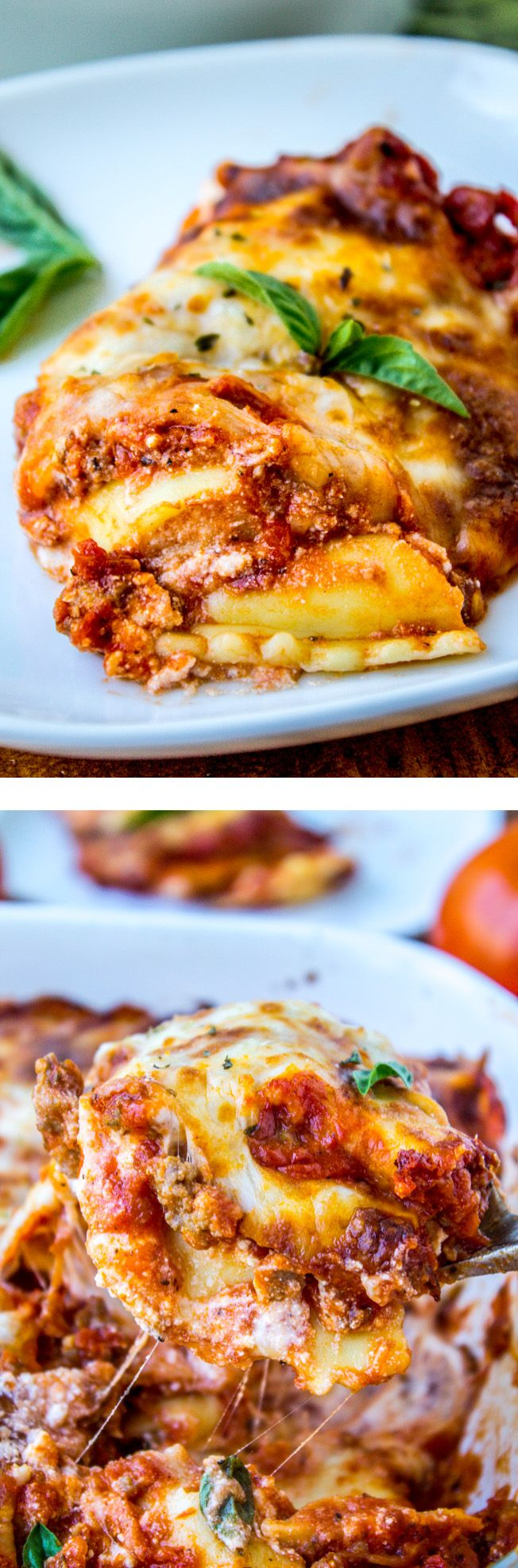 Easy Cheesy Ravioli Lasagna from The Food Charlatan // Hearty no-brainer dinner to make on busy back-to-school nights.